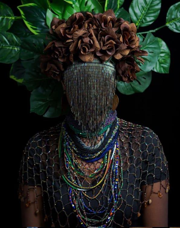 Beaded mask by Ta Meu Bem. Photography by Nicole Barton Photography