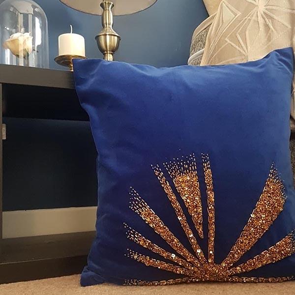 Beadwork cushion by Samantha Trevis