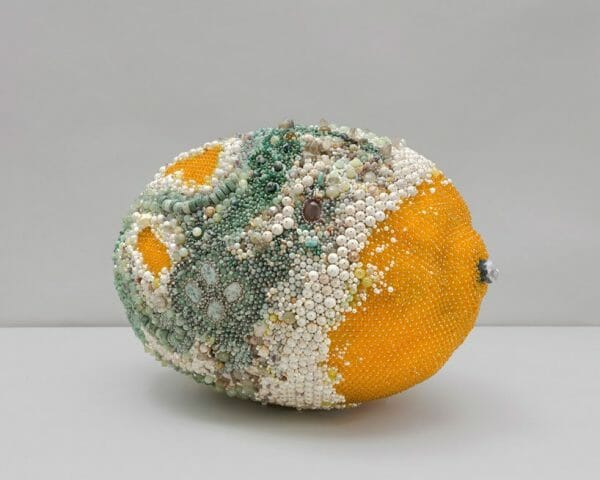 beaded large sculpture in the form of a mouldy lemon - beaded lemons