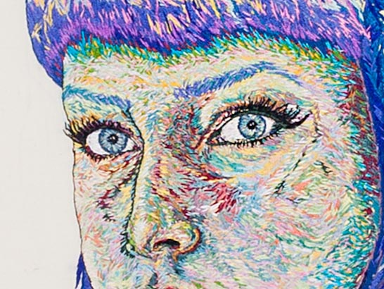Detail of Self Portrait, by Sorrell Kerrison, Hand & Lock Prize for Embroidery, first place Open Textile Art Category