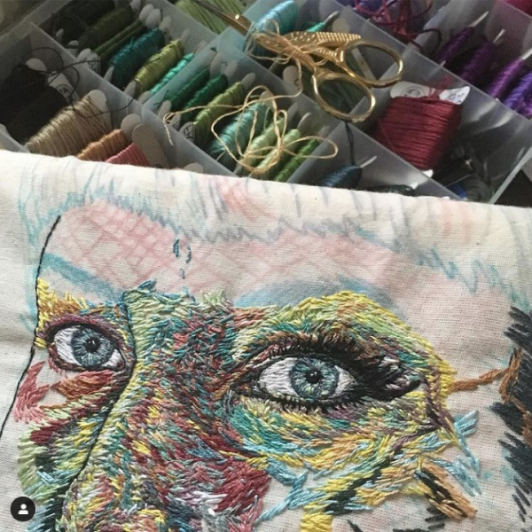 Self Portrait in progress, Sorrell Kerrison, Hand & Lock Prize for Embroidery, first place Open Textile Art Category