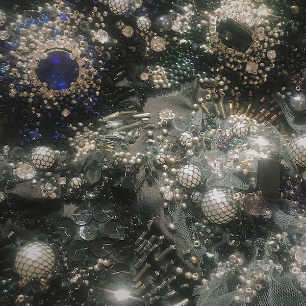 """Bead-embroidery detail, """"Decay,"""" by Olga Ochkas, first-place winner, Open Fashion category, Hand & Lock Prize for Embroidery"""