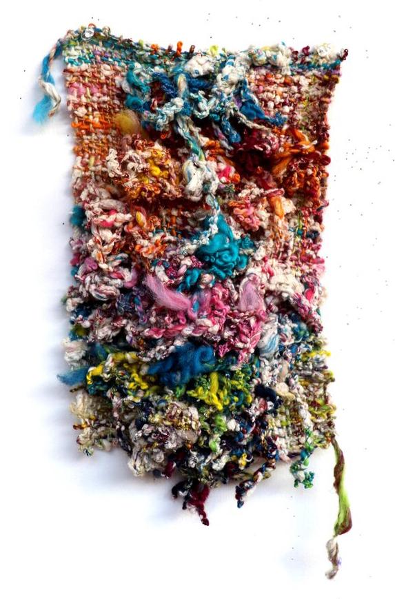 Bryana Bibbs - Journal Series 7.23.20.2 - Handwoven hand-spun recycled sari silk, wool, flax, raw recycled cotton, and Egyptian cotton