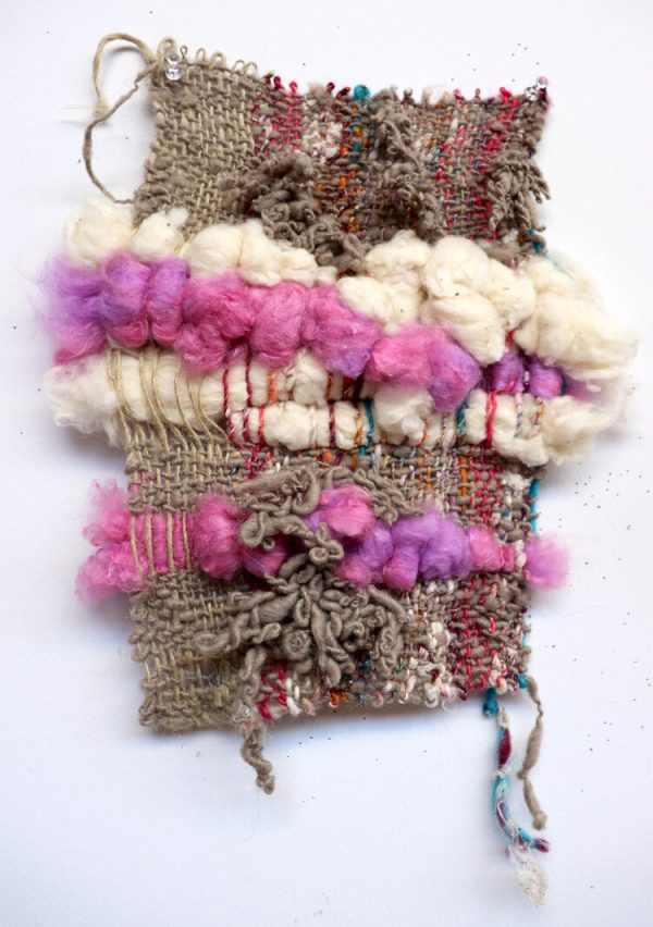 Bryana Bibbs - Journal Series 7.26.20 - Handwoven de-gummed silk cocoons, sari silk, and hand-spun flax, recycled sari silk, and wool