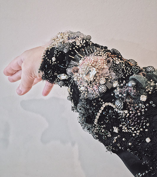 """Beaded sleeve, """"Decay,"""" by Olga Ochkas, first-place winner, Open Fashion category, Hand & Lock Prize for Embroidery"""