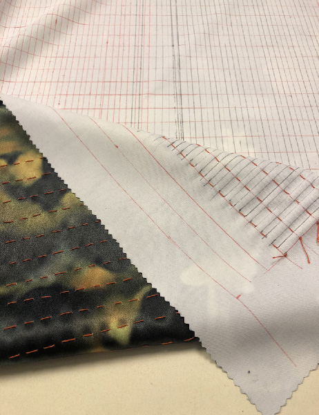 Running stitches along the pleat pattern, by Rotem Izhaki