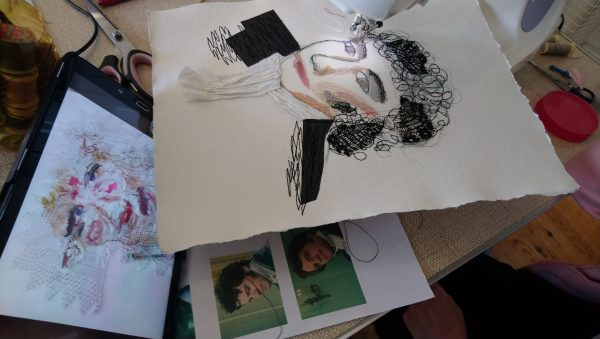 Using Mr Darcy as a reference to create a stitched collage using a sewing machine.