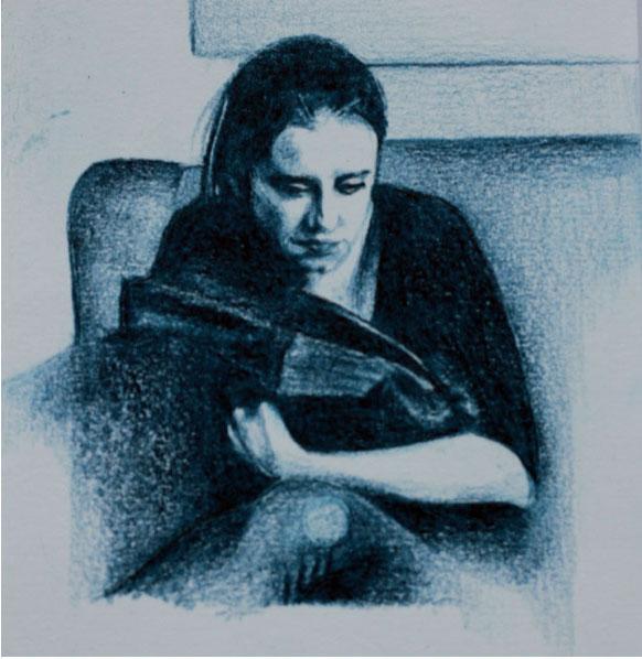 Embroidered portrait by Martha Blackburn