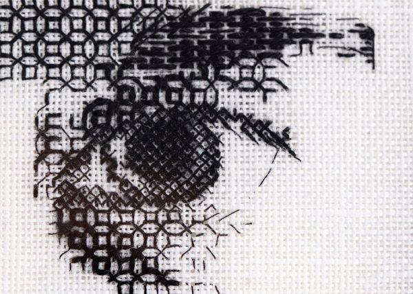 Eye shading, blackwork embroidery, Martha Blackburn