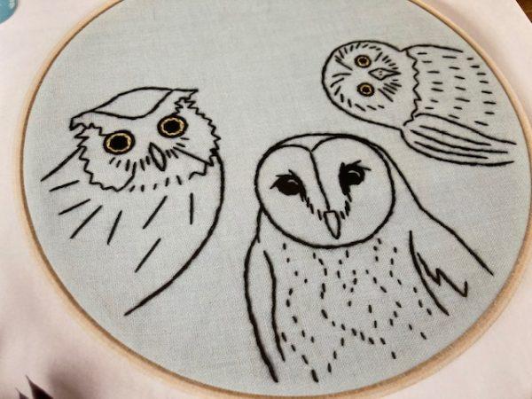 Animal Embroidery Workbook Jessica Long owls