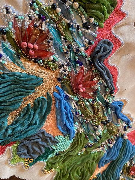 Embroider detail, Rachel Ellenbogen, second-prize winner, student fashion category, Hand & Lock Prize for Embroidery