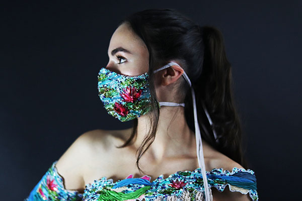 Matching mask by Rachel Ellenbogen, second-prize winner, student fashion category, Hand & Lock Prize for Embroidery