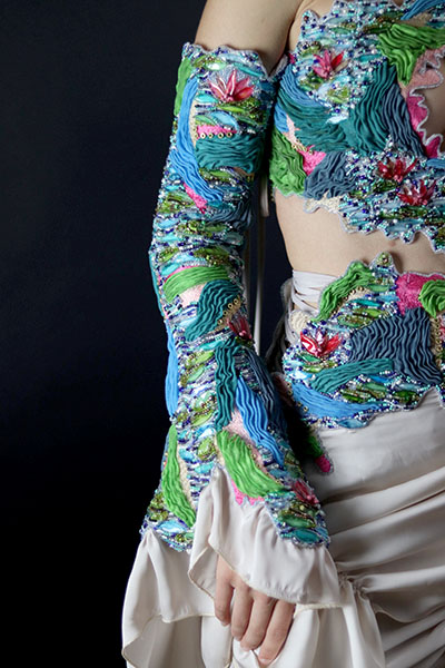 Sleeve by Rachel Ellenbogen, second-prize winner, student fashion category, Hand & Lock Prize for Embroidery