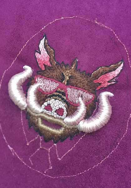 Embroidery in progress, by LIly Cellan-Jones, second-place winner, student textile art category, Hand & Lock Prize for Embroidery