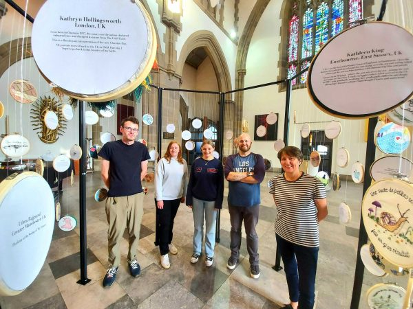 Stitch Your Story Installation Volunteers at Blackburn Cathedral